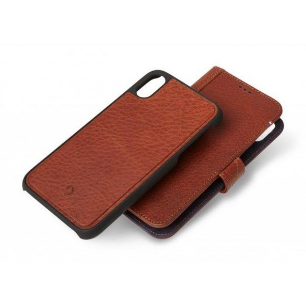 Decoded Leather Detachable Wallet with removable Back Cover for iPhone XR Cinnamon Brown