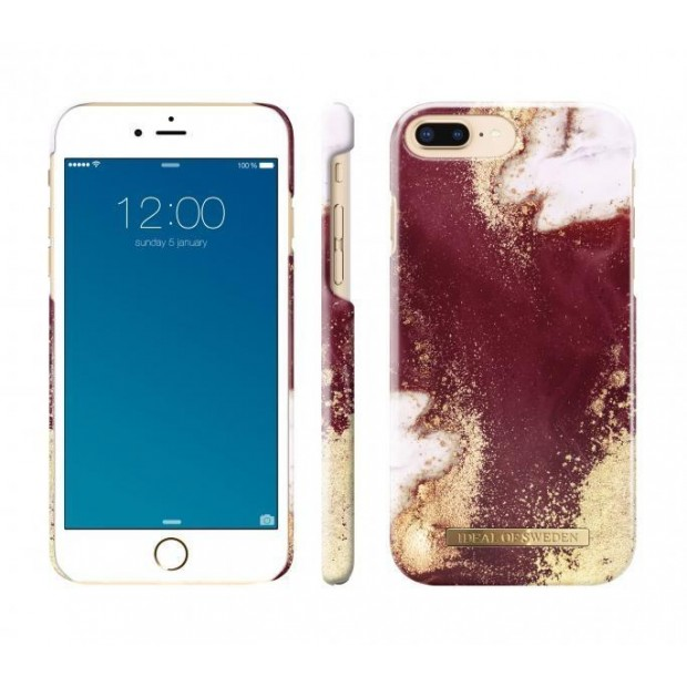 Fashion Case iPhone iPhone 8/7/6/6S Plus Golden Burgundy Marble