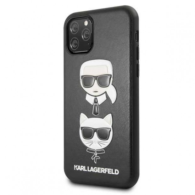 Karl Lagerfeld iPhone 11 Pro - Karl and Choupette Embossed - PU Leather TPU Hard case Black