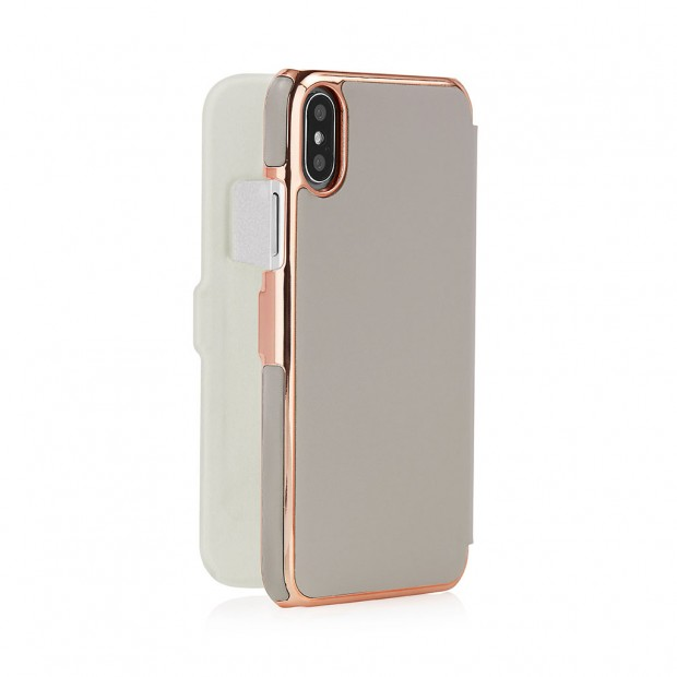 """Pipetto iPhone 6.1"""" Slim Wallet - Lightgray/Rose Gold"""