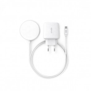 Epico Magnetic Wireless Charging Cable Bundle 7, 5W/15W - With USB-C Cable & 20W PD Charger - white